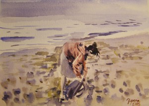 girl on beach 18X24 cm